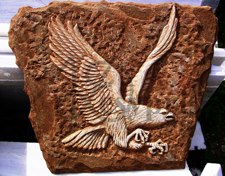Handmade marble decorative with an Eagle, Aged