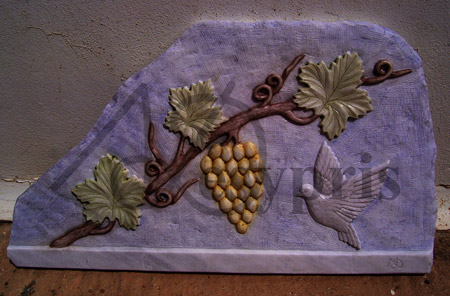 Handmade marble decorative with a Vine and a Pigeon, Colored