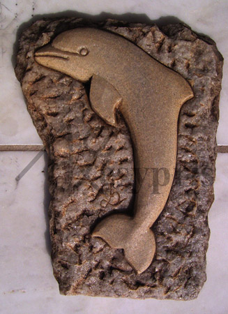 Handmade marble decorative with a Dolphin, Aged