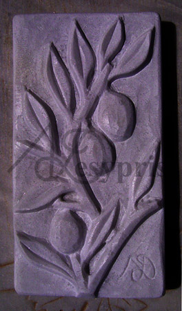 Handmade marble decorative with an Olive Branch