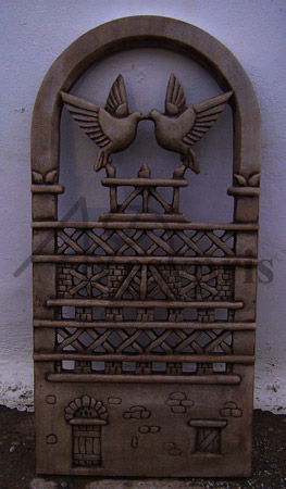 Handmade marble decorative with a Dovecote and Pigeons, Aged