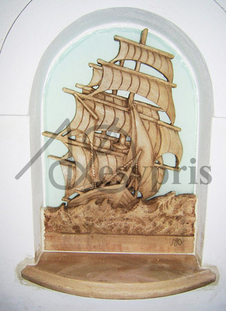 Handmade marble decorative a Ship, Aged