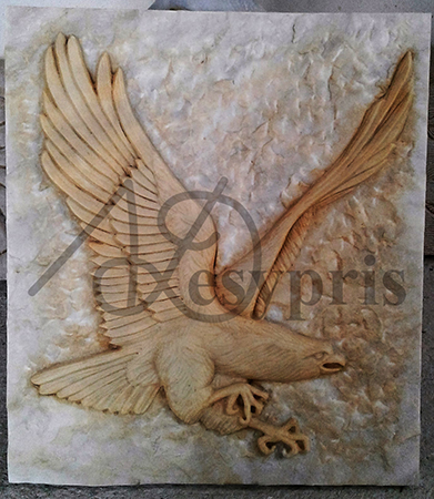 Handmade marble decorative with a Eagle, Aged
