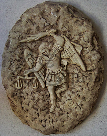 Handmade marble decorative with Archangel Michael, Aged