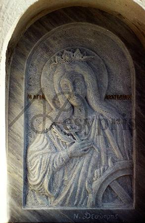 Handmade marble saint Catherine