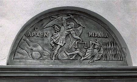 Handmade marble Archangel Michael in Battle