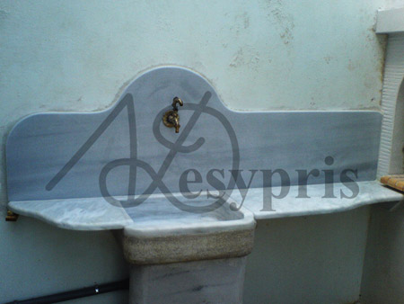 Handmade marble Outdoor Sink with a Counter