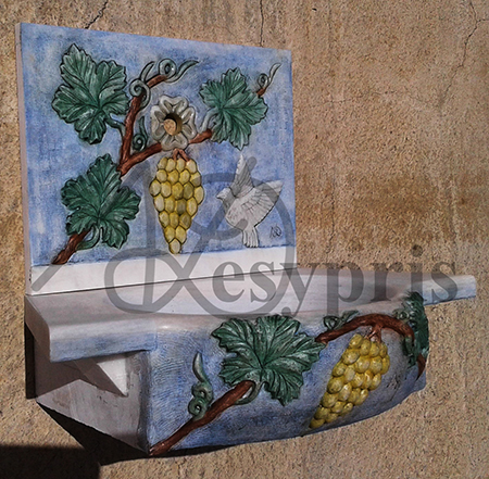 Handmade marble Fount with Vine, Colored
