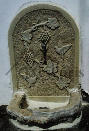 Handmade marble Fount with a Vine and Pigeons, Aged