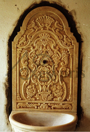 Handmade marble Fount with Byzantine Designs, Aged