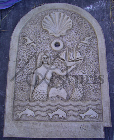 Handmade marble Fount with a Mermaid, Dolphins, Sea Gulls and Shell, Aged