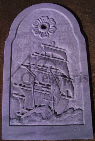 Handmade marble Fount with a sailing Boat and a Rosette