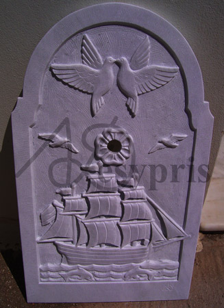 Handmade marble Fount with a Ship, Pigeons and Sea Gulls