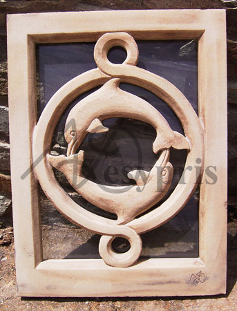 Handmade marble window with Dolphins, Aged
