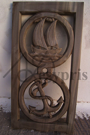 Handmade marble window with an Anchor and a Boat, Aged