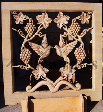 Handmade marble window with a Vine and Pigeons, Aged