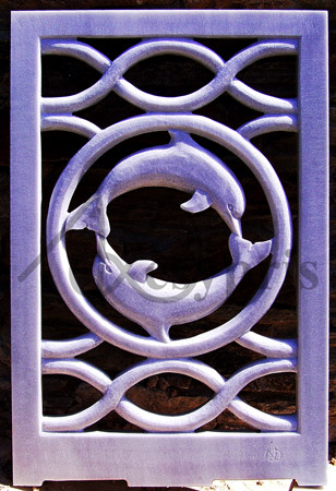 Handmade marble window with Dolphins