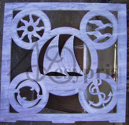 Handmade marble window with Boat, Dolphins, Sea Gulls, Anchor and Sun