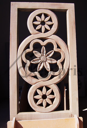 Handmade marble window with Daisies, Aged