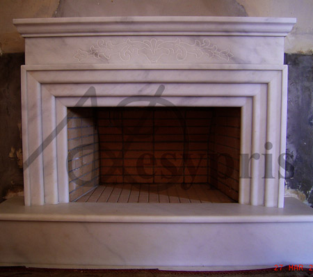 Handmade marble Fireplace with Flowers