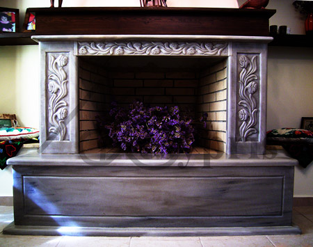 Handmade marble Fireplace with Roses