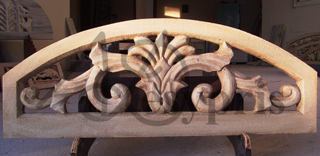 Handmade marble Lintel with a Flower, Aged