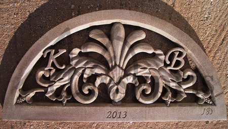Handmade marble Lintel with Flowers, Aged
