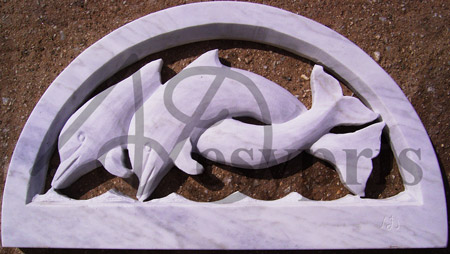 Handmade marble Lintel with Dolphins