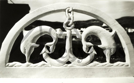 Handmade marble Lintel with Dolphins and a Anchor