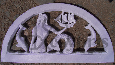 Handmade marble Lintel with a Mermaid and Dolphins