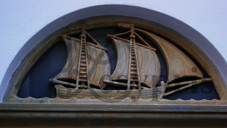 Handmade marble Lintel with a Ship, Aged