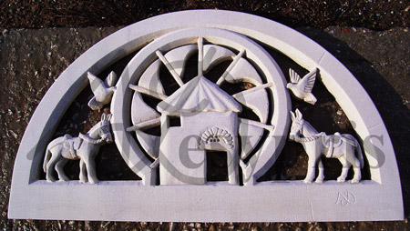 Handmade marble Lintel with a Mill, Donkeys and Pigeons