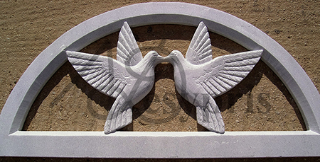 Handmade marble Lintel with Pigeons