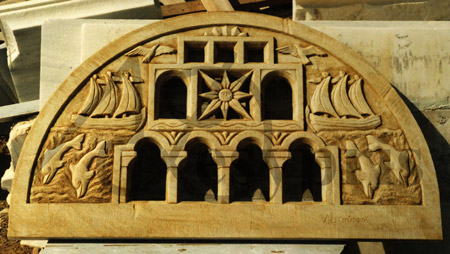 Handmade marble Lintel with Doors, Ships, Dolphins and Sea Gulls, Aged