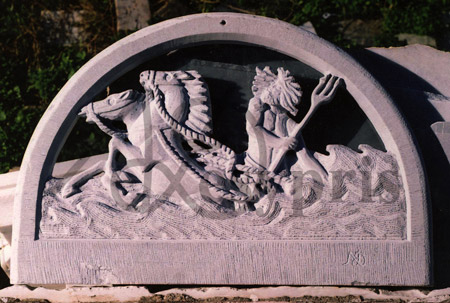 Handmade marble Lintel with God Poseidon
